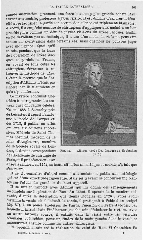 Fig. 85. Albinus, 1697-1770 -  Encyclopédie française d'urologie, publiée sous la direction de MM. A [...] -  - med25657x01x0196