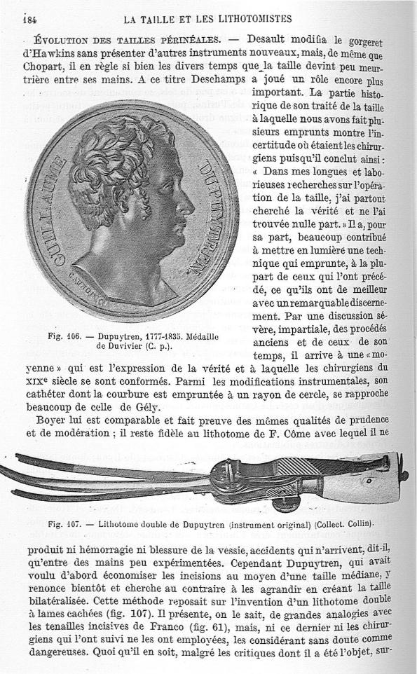 Fig. 106. Dupuytren, 1777-1835 / Fig. 107. Lithotome double de Dupuytren -  Encyclopédie française d [...] - Instruments. Médecins. 18e siècle, 19e siècle (France) - med25657x01x0219