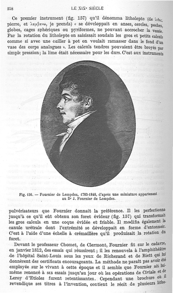 Fig. 156. Fournier de Lempdes, 1783-1848, d'après une miniature appartenant au Dr J. Fournier de Lem [...] -  - med25657x01x0302
