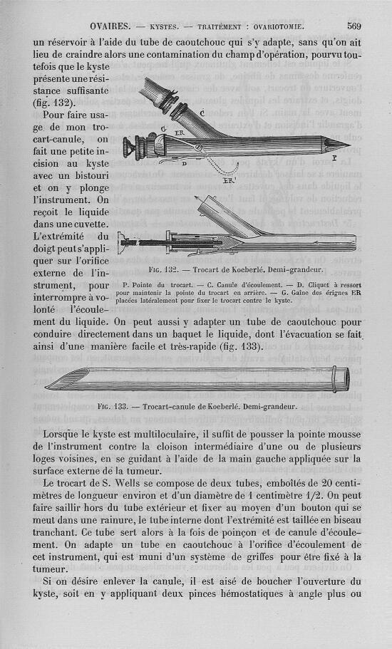Fig. 132 et 133 : Trocart de Koeberlé - Nouveau dictionnaire de médecine de chirurgie pratiques, ill [...] -  - med32923x25x0572
