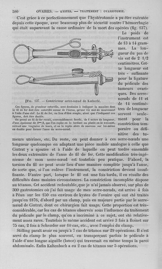 Fig. 137 : Constricteur serre-noeud de Koeberlé - Nouveau dictionnaire de médecine de chirurgie prat [...] -  - med32923x25x0583