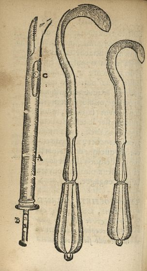 [Crochets, grand et petit, et bistoury] - L'accoucheur methodique, qui enseigne la maniere d'operer  [...] - Appareils et instruments. Obstétrique. France. 17e siècle - med34760x0384