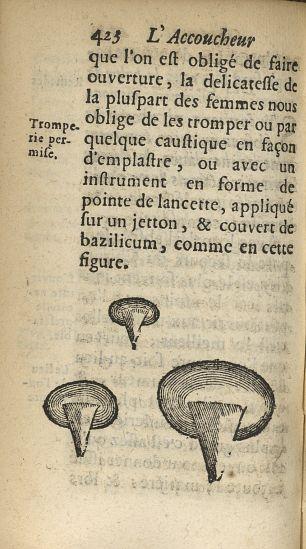[Instrument en forme de pointe de lancette, appliqué sur un jeton, & couvert de bazylicum] - L'accou [...] - Appareils et instruments. Obstétrique. France. 17e siècle - med34760x0456