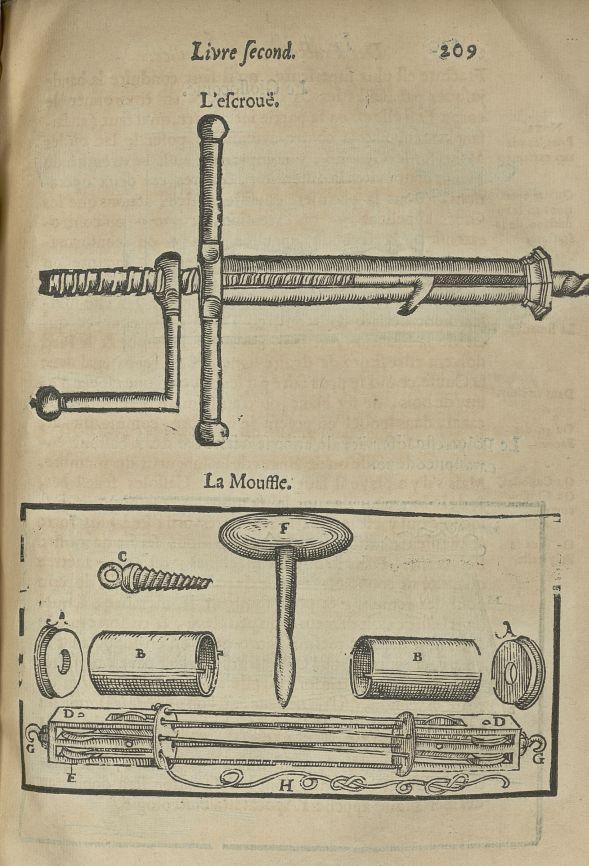 L'escrouë / La mouffle - L'Oeconomie chirurgicale, pour le restablissement des parties molles du cor [...] - Appareils et instruments. Attelles. Membres inférieurs (fractures). 17e siècle - med5207Ax0577