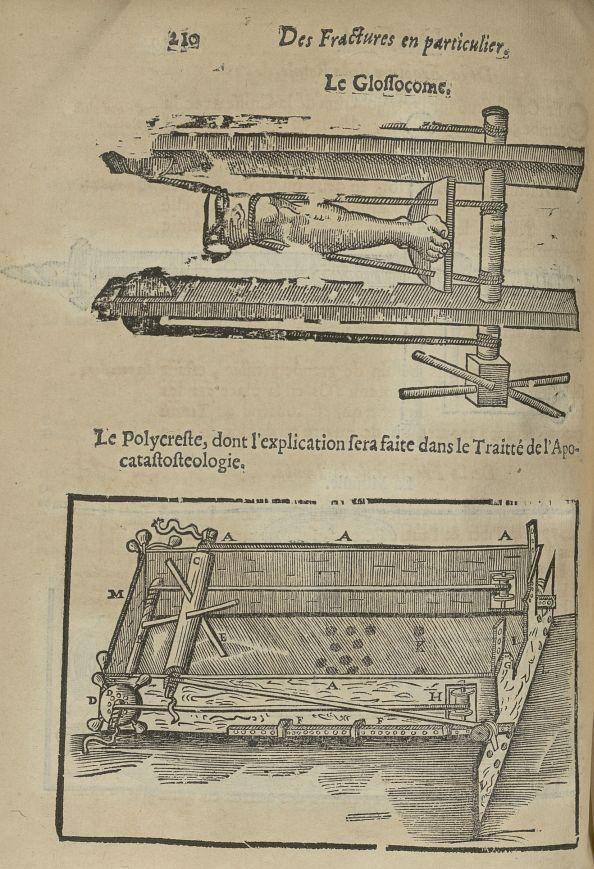 Le glossocome / Le polycreste - L'Oeconomie chirurgicale, pour le restablissement des parties molles [...] - Appareils et instruments. Attelles. Membres inférieurs (fractures). 17e siècle - med5207Ax0578