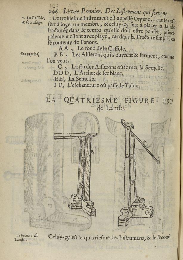 La quatriesme Figure est de lambi - L'Oeconomie chirurgicale, pour le restablissement des parties mo [...] - Appareils et instruments. 17e siècle - med5207Ax0664