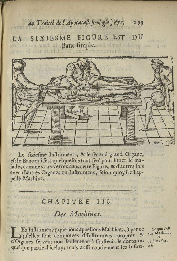 La sixiesme Figure est du banc simple - L'Oeconomie chirurgicale, pour le restablissement des partie [...] - Appareils et instruments. 17e siècle - med5207Ax0667
