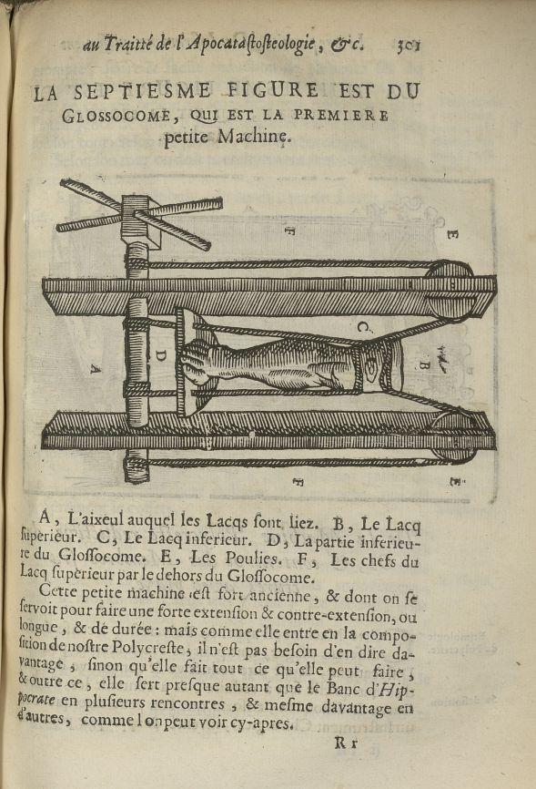 La septiesme Figure est du glossocome, qui est la premiere petite machine - L'Oeconomie chirurgicale [...] - Appareils et instruments. 17e siècle - med5207Ax0669