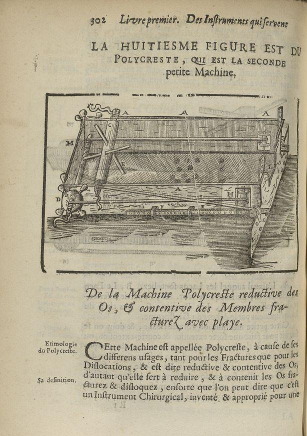 La huitiesme Figure est du polycreste, qui est la seconde petite machine - L'Oeconomie chirurgicale, [...] - Appareils et instruments. 17e siècle - med5207Ax0670
