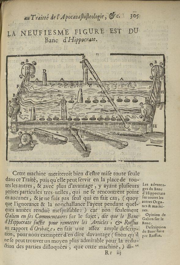 La neufiesme Figure est du banc d'Hippocrate - L'Oeconomie chirurgicale, pour le restablissement des [...] - Appareils et instruments. 17e siècle - med5207Ax0673