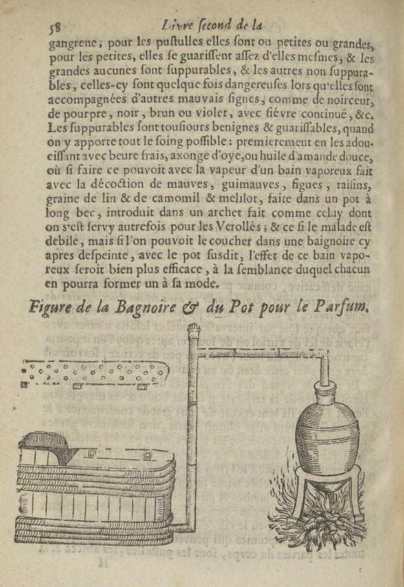 Figure de la baignoire & du pot pour le parfum - L'Oeconomie chirurgicale, pour le restablissement d [...] - Alambics. Parfums. 17e siècle - med5207Ax0923