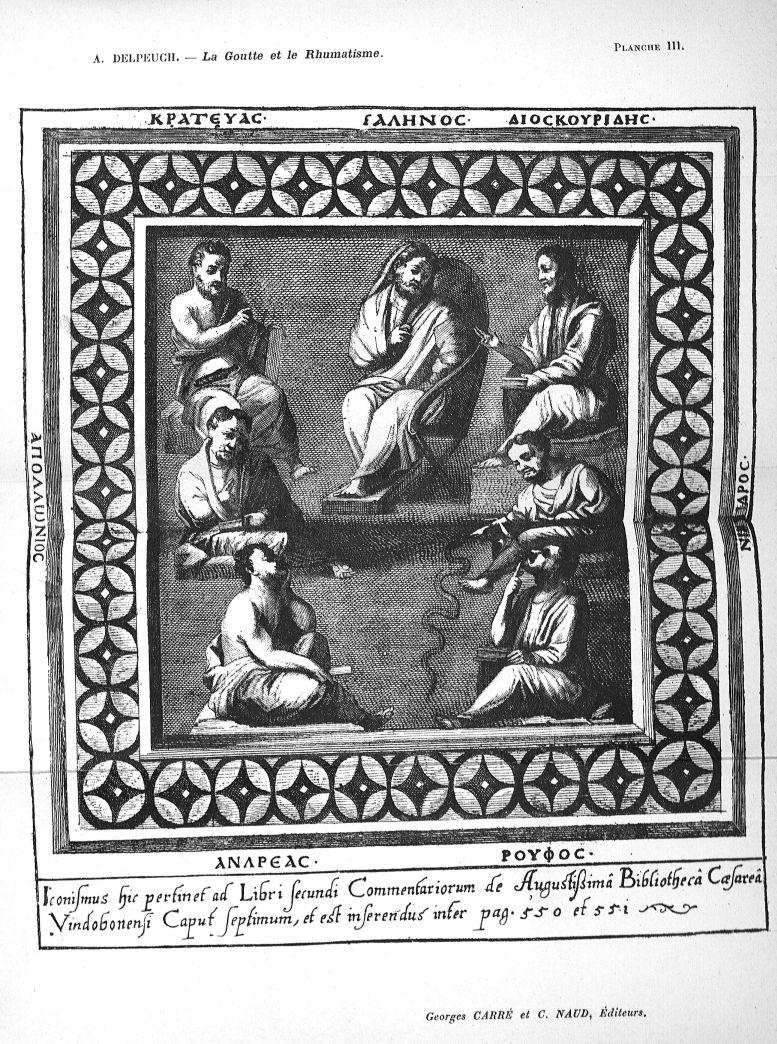 Planche III. Botanistes et therapeutes [Galênos, Kratevas, Dioskouridês, Apollônois, Nikandros, Andr [...] - Médecins. Pharmacie. Antiquité (Grèce, Rome) - med52512x0108