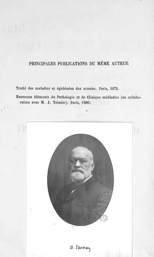 A. Laveran - Nature parasitaire des accidents de l'impaludisme : description d'un nouveau parasite t [...] - Médecins. 19e siècle (France) - med54355x0001
