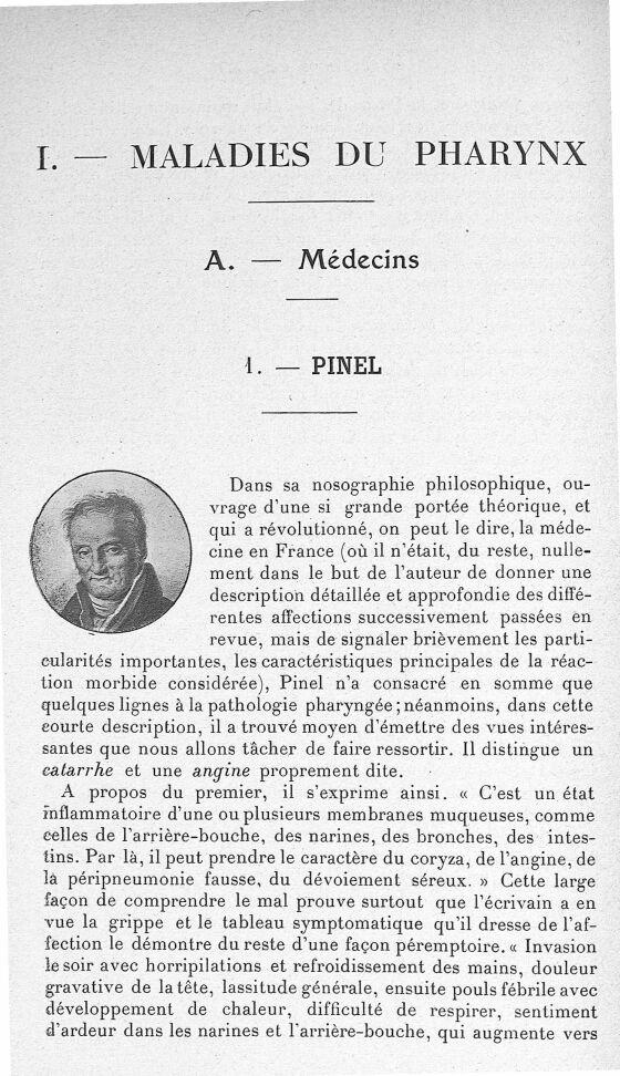Pinel - Les maîtres de l'Ecole de Paris dans la période préspécialistique des maladies du pharynx, d [...] - Médecins. 18e siècle, 19e siècle (France) - med62425x01x0104