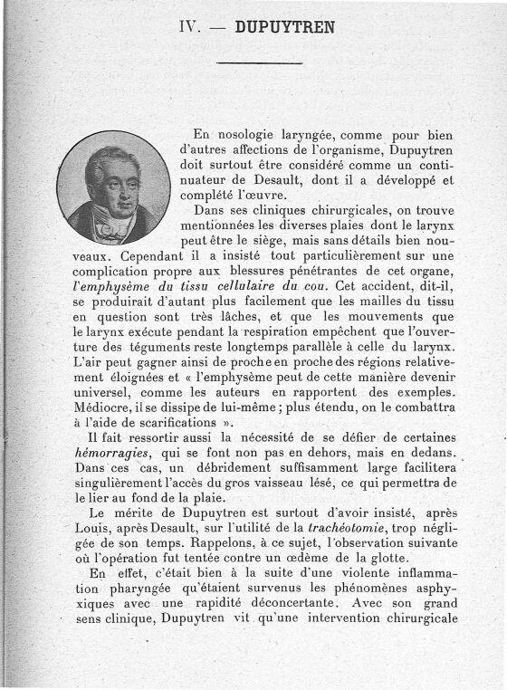 Dupuytren - Les maîtres de l'Ecole de Paris dans la période préspécialistique des maladies du pharyn [...] -  - med62425x02x0259