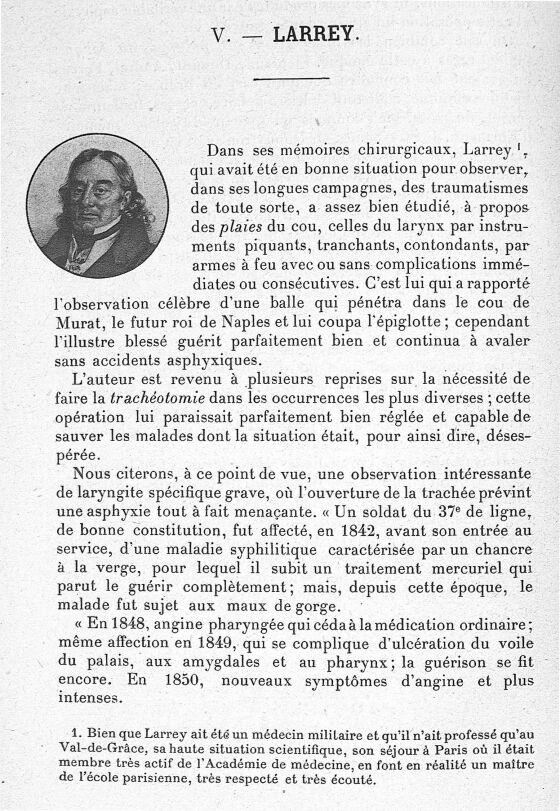 Larrey - Les maîtres de l'Ecole de Paris dans la période préspécialistique des maladies du pharynx,  [...] -  - med62425x02x0262