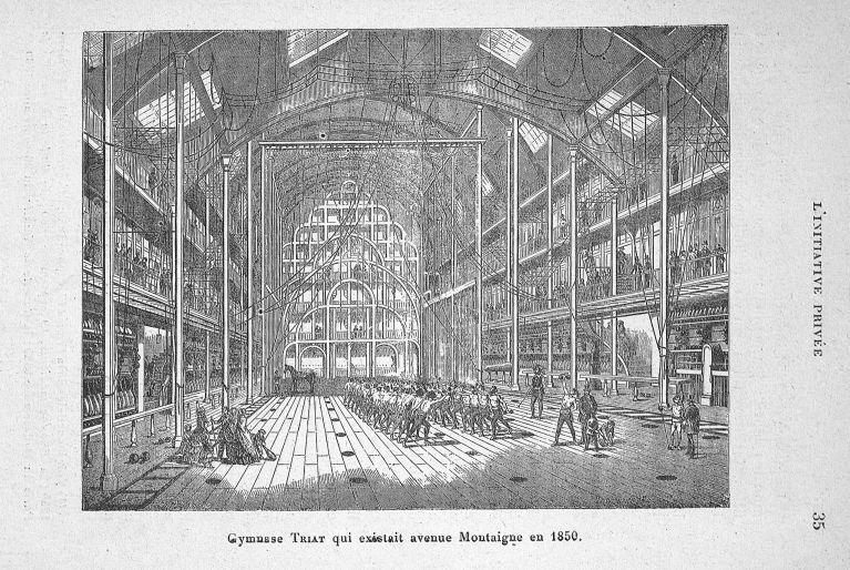 Gymnase Triat qui existait avenue Montaigne en 1850 - Evolution de l'éducation physique. L'Ecole fra [...] -  - med65254x0035
