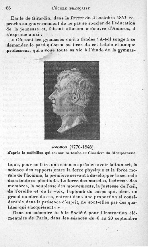 Amoros (1770-1848) - Evolution de l'éducation physique. L'Ecole française -  - med65254x0086