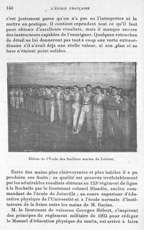 Elève de l'école des fusiliers marins de Lorient - Evolution de l'éducation physique. L'Ecole frança [...] -  - med65254x0140