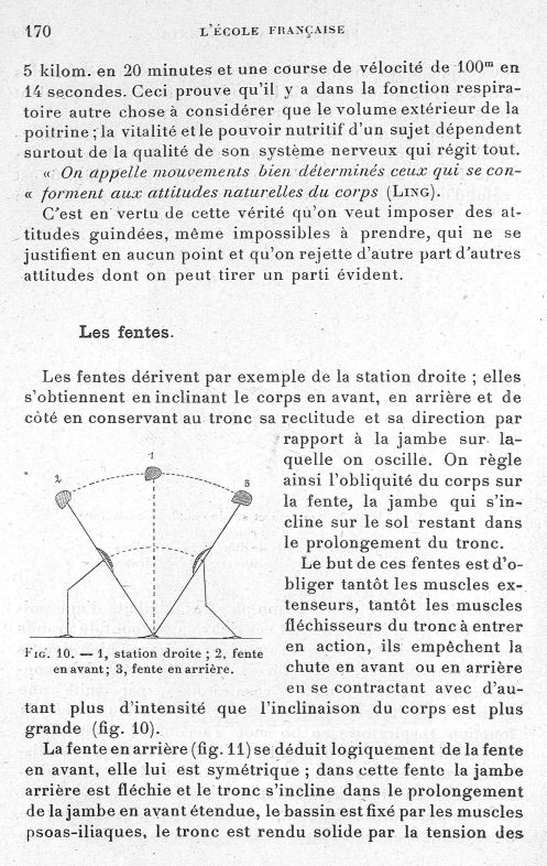 Fig. 10. 1, station droite; 2, fente en avant; 3, fente en arrière - Evolution de l'éducation physiq [...] -  - med65254x0170