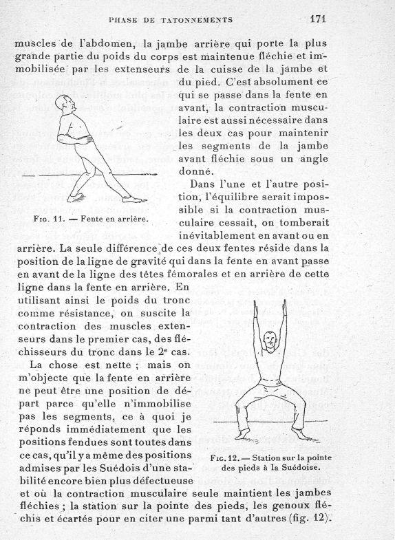 Fig. 11. Fente en arrière / Fig. 12. Station sur la poitrine des pieds à la Suédoise - Evolution de  [...] -  - med65254x0171