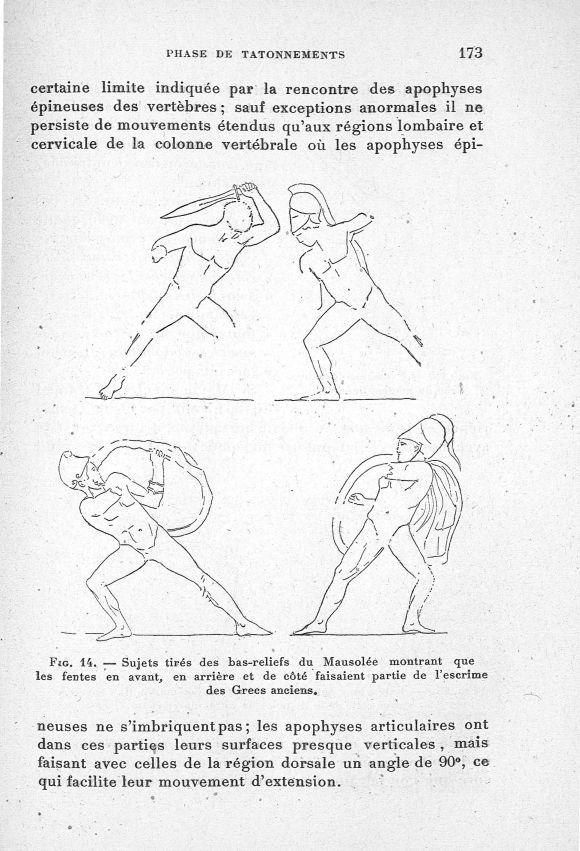 Fig. 14. Sujets tirés des bas-reliefs du Mausolée montrant que les fentes en avant, en arrière et de [...] -  - med65254x0173