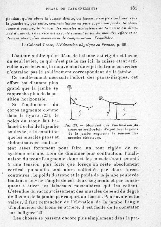 Fig. 23. Montrant que l'inclinaison du tronc en arrière loin de l'équilibrer le poids de la jambe au [...] -  - med65254x0181