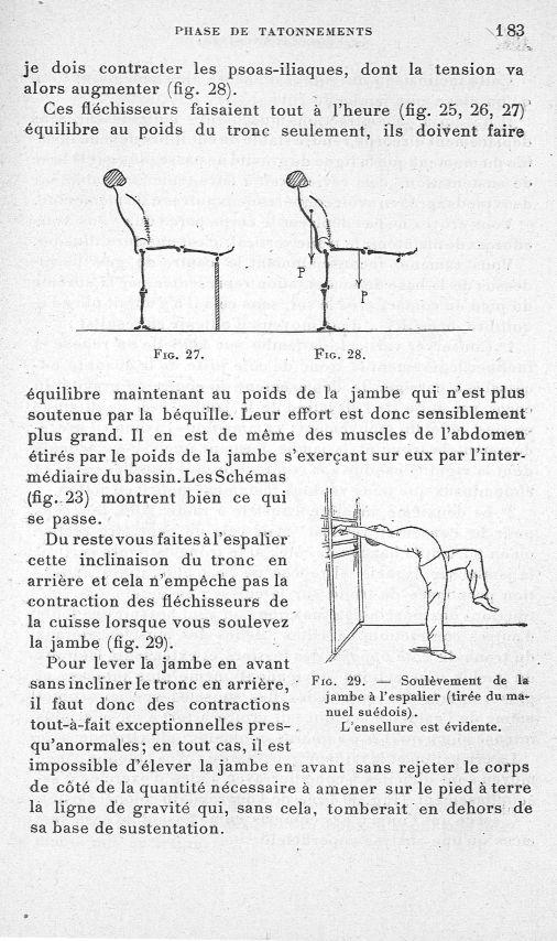 Fig. 27 / Fig. 28/ Fig. 29. Soulèvement de la jambe à l'espalier (tirée du manuel suédois). L'ensell [...] -  - med65254x0183
