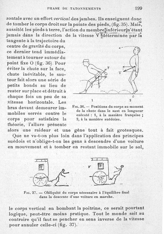 Fig. 36. Positions du corps au moment de la chute dans le saut en longueur exécuté : 1, à la manière [...] -  - med65254x0199