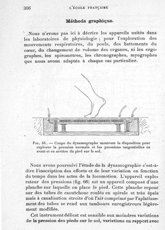 Fig. 66. Coupe du dynamographe montrant la disposition pour explorer la pression normale et les pres [...] -  - med65254x0306