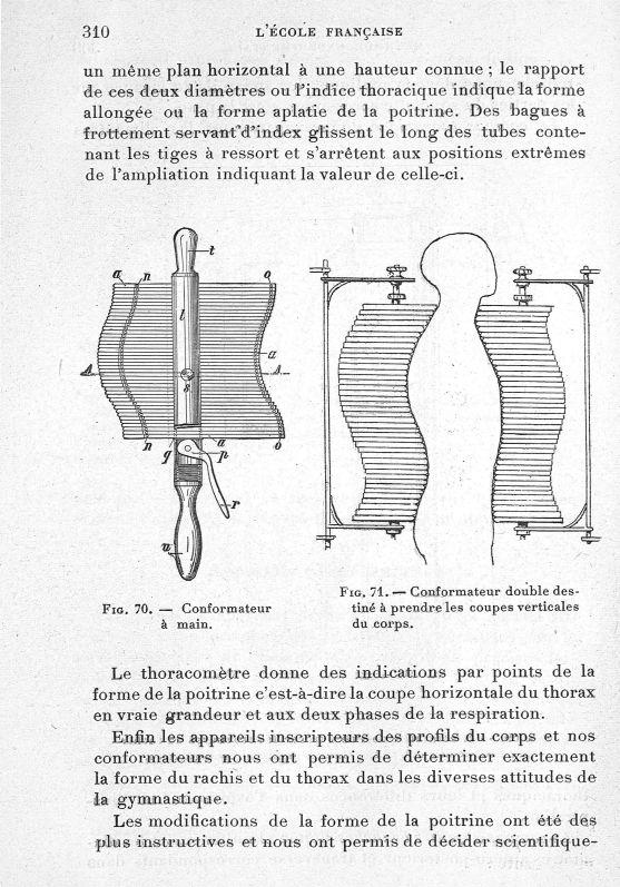 Fig. 70. Conformateur à main/ Fig. 71. Conformateur double destiné à prendre les coupes verticales d [...] -  - med65254x0310