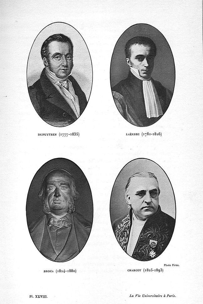 Planche XXVIII. Dupuytren / Laennec / Broca / Charcot - La Faculté de médecine - Médecins. Chirurgiens. 19e siècle (France) - med66238x0030