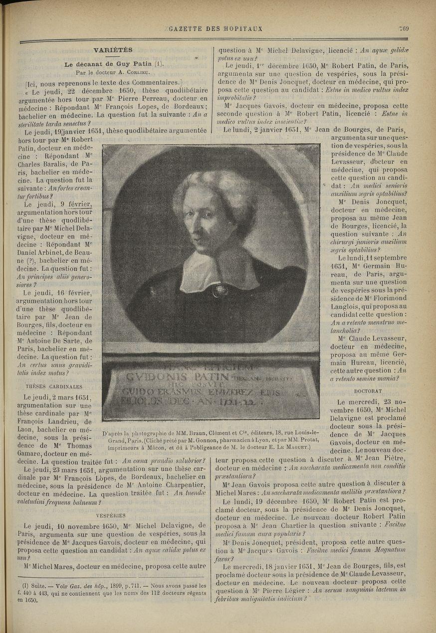 [Guy Patin] [D'après la photographie de MM. Brann, Clément et Compagnie..., 18, rue Louis-le-Grand,  [...] - Médecins. France. 17e siècle - med90130x1899x0775