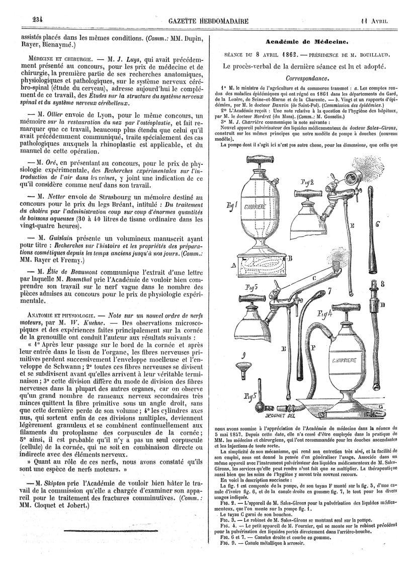 Appareil pulvérisateur des liquides médicamenteux. La fig. 1 est composée de la pompe, de son tuyau  [...] -  - med90166x1862x09x0239