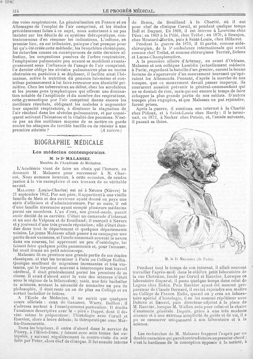 M. le Dr Malassez (de Paris) - Le progrès médical  : journal de médecine, de chirurgie et de pharmac [...] -  - med90170x1894x02x19x0328