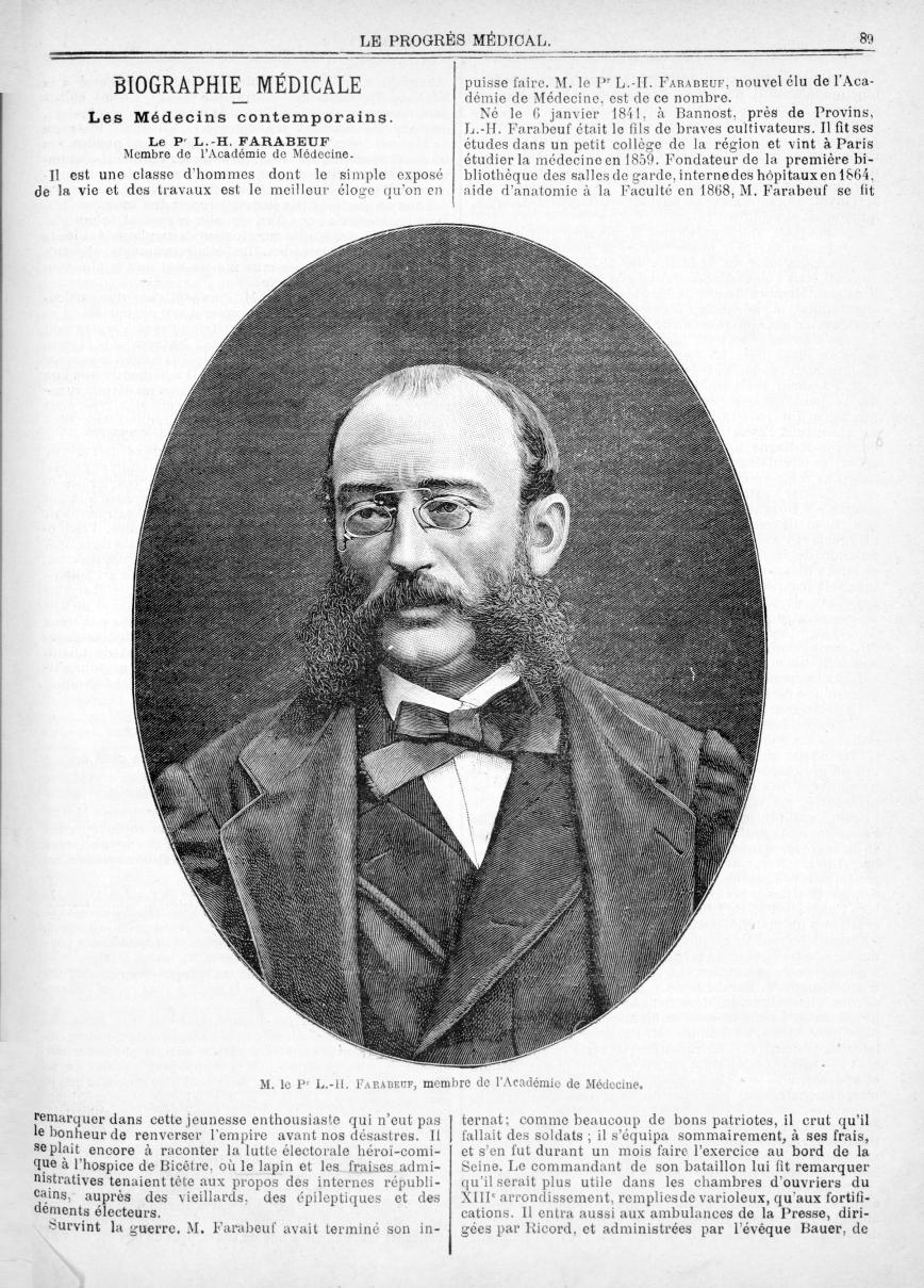 M. le Pr L.-H. Farabeuf... - Le progrès médical  : journal de médecine, de chirurgie et de pharmacie -  - med90170x1897x03x05x0091