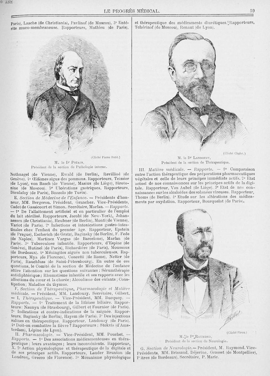M. le Dr Potain / M. le Dr Landouzy / M. le Pr Raymond - Le progrès médical  : journal de médecine,  [...] -  - med90170x1900x03x12x0062