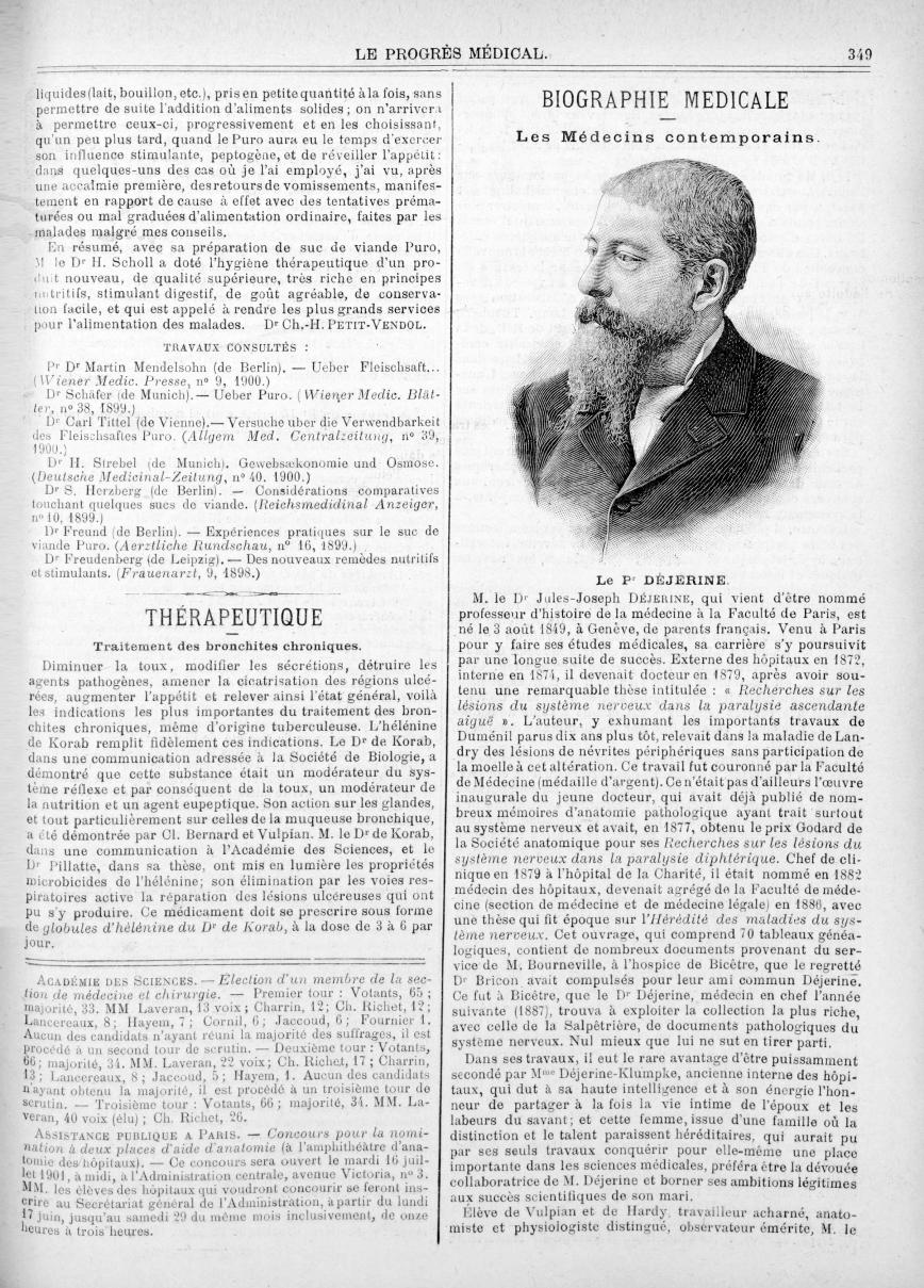 Le Pr Déjerine - Le progrès médical  : journal de médecine, de chirurgie et de pharmacie -  - med90170x1901x03x13x0357