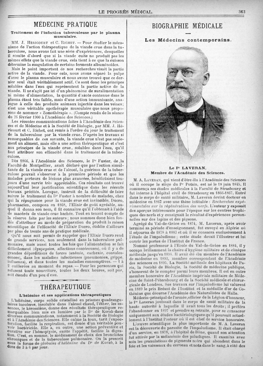 Le Pr Lavaran, membre de l'académie des sciences - Le progrès médical  : journal de médecine, de chi [...] -  - med90170x1901x03x13x0371