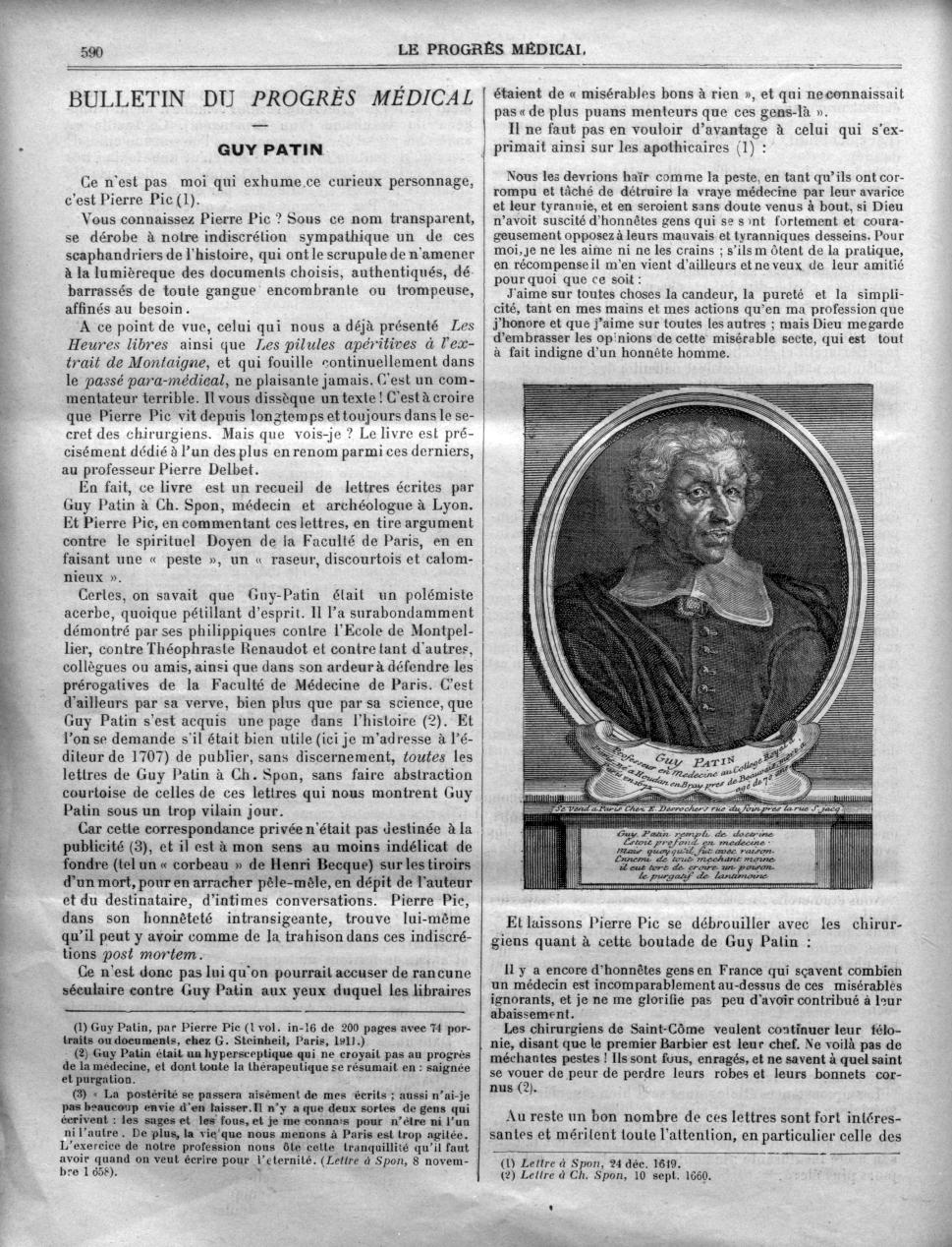 Guy Patin - Le progrès médical  : journal de médecine, de chirurgie et de pharmacie -  - med90170x1910x0592
