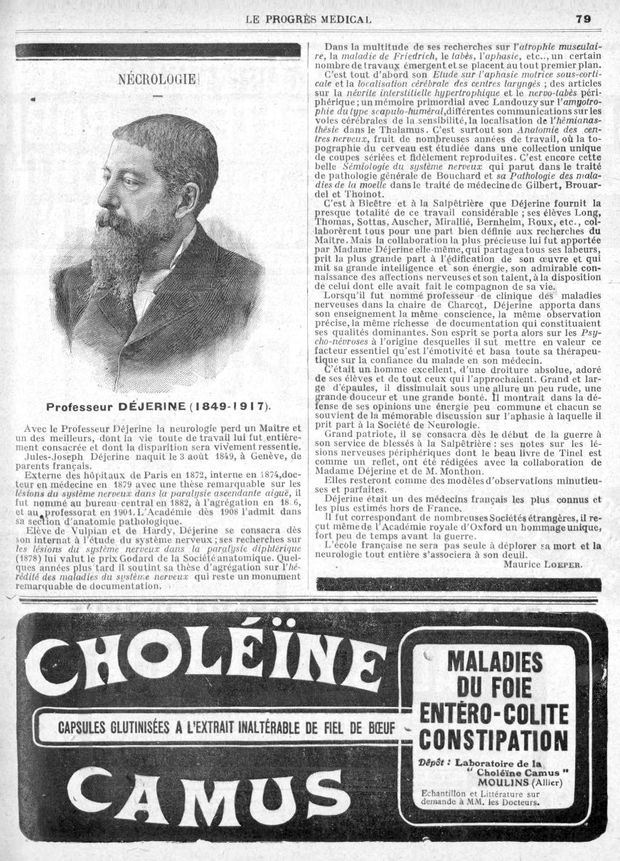 Professeur Déjerine - Le progrès médical -  - med90170x1917x0121