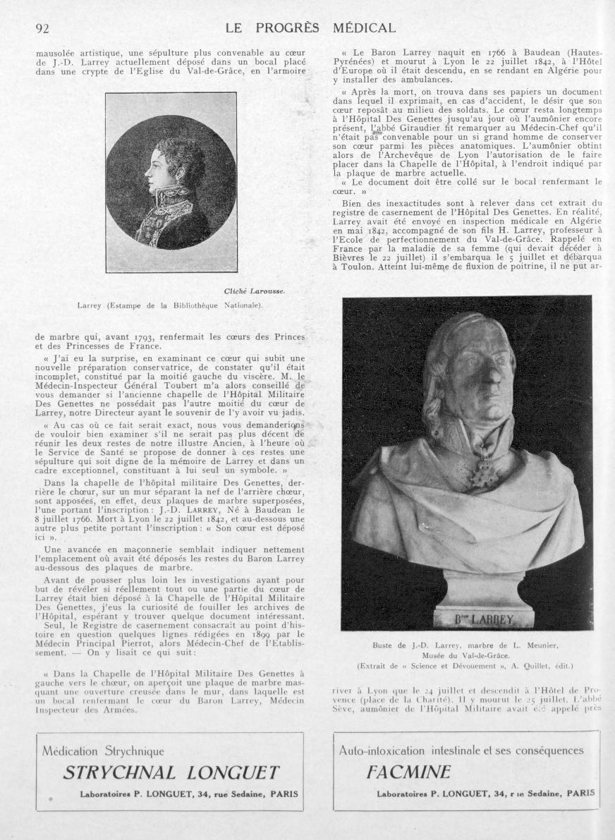 Larrey (Estampe de la Bibliothèque Nationale) / Buste de J.-D. Larrey, marbre de L. Meunier, Musée d [...] -  - med90170x1926xsupx0092