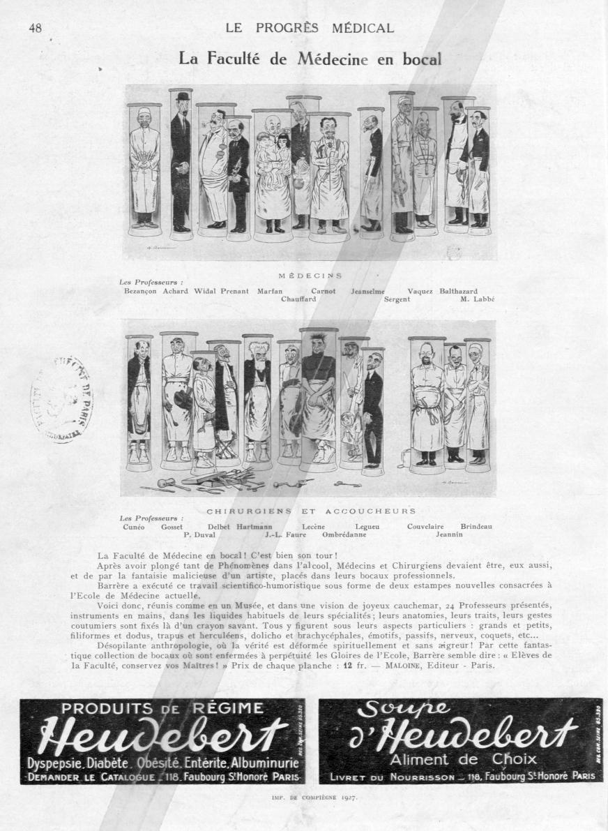 Médecins. Les Professeurs: Bezançon. Achard. Widal. Prenant. Marfan. Chauffard. Carnot. Jeanselme. S [...] -  - med90170x1927xsupx0048