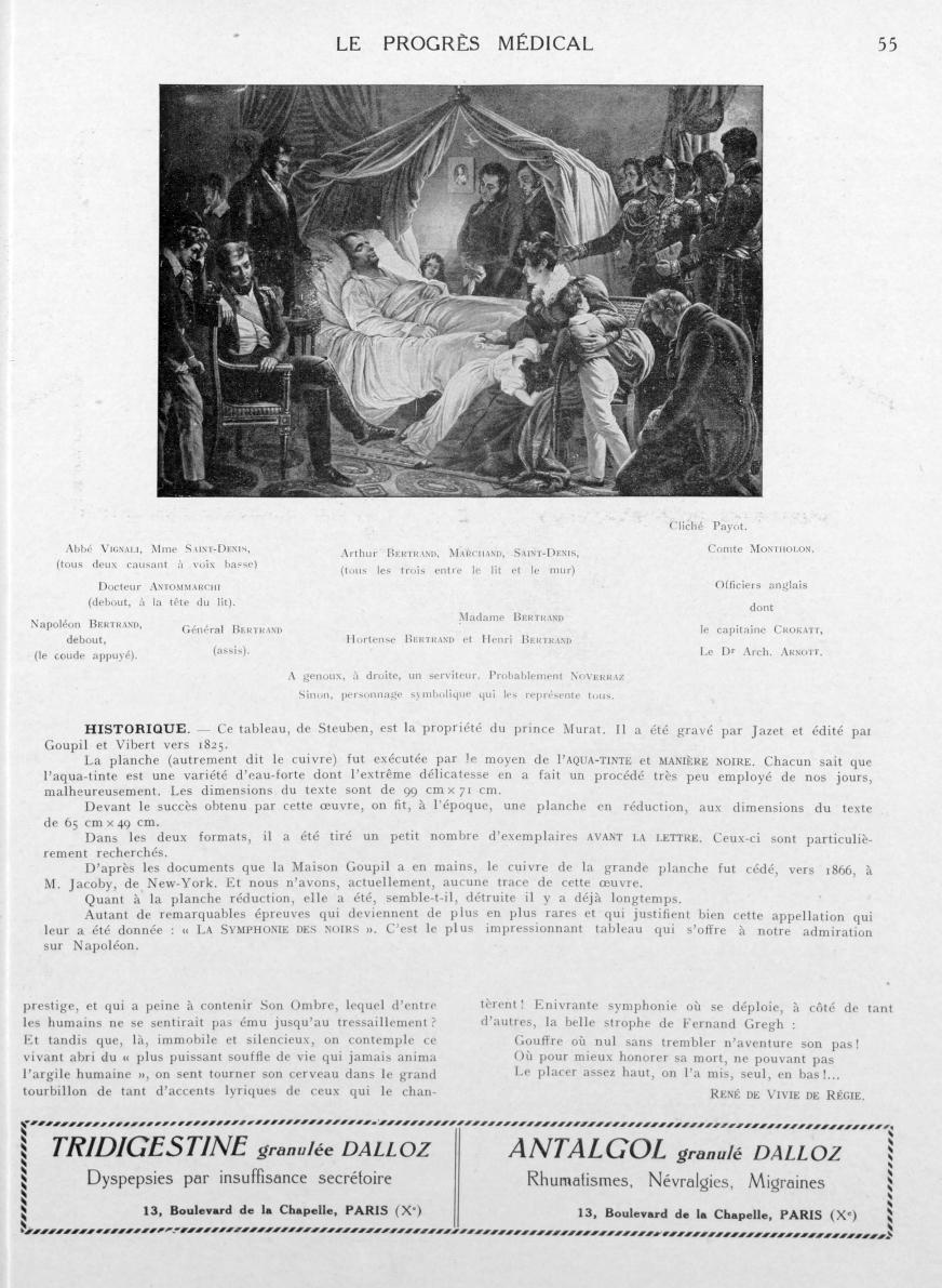 Abbé Vignali, Mme Saint-Denis, (tous deux causant à voix basse). Docteur Antommarchi (debout, à la t [...] -  - med90170x1927xsupx0055