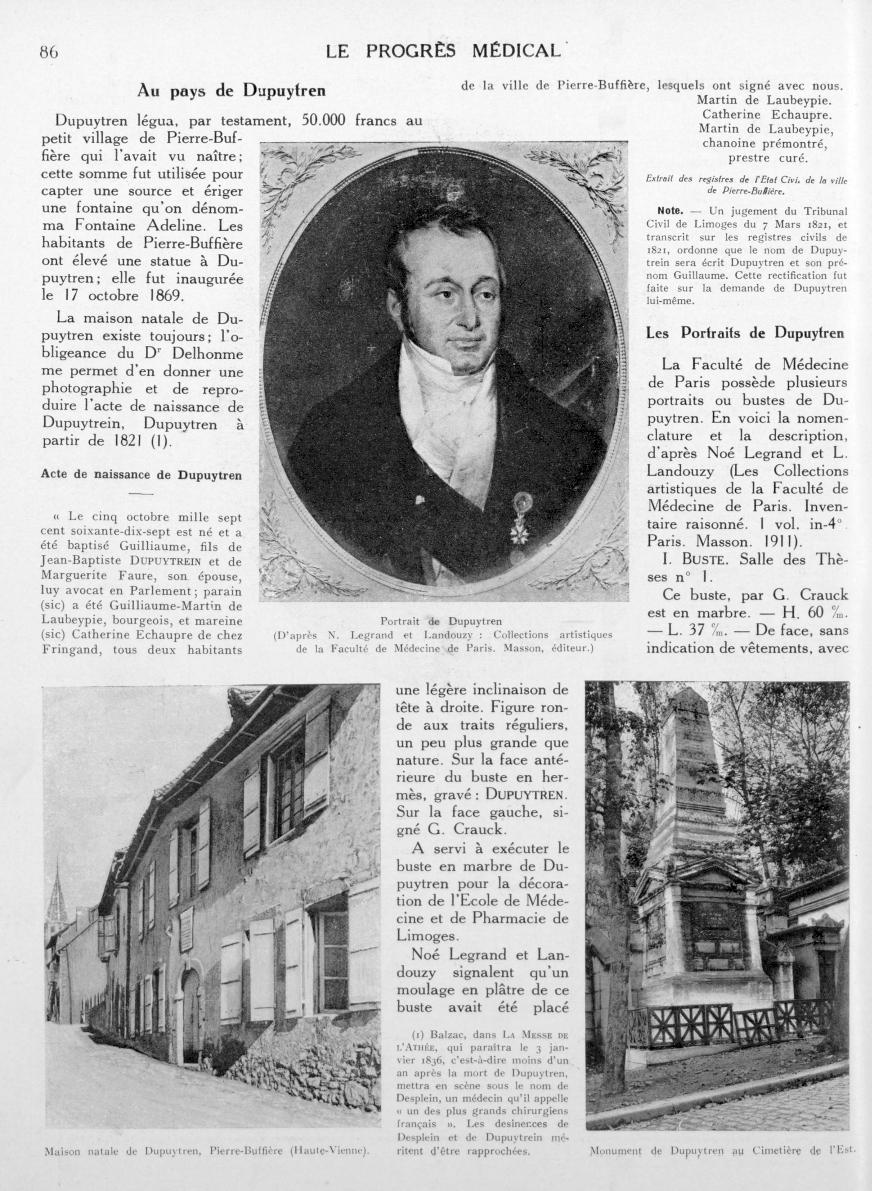 Portrait de Dupuytren (D'après N. Legrand et Landouzy: Collections artistiques de la Faculté de Méde [...] -  - med90170x1927xsupx0086