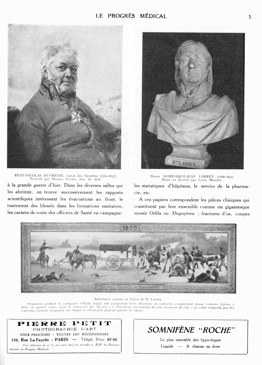 René-Nicolas Dufriche, baron des Genettes (1762-1837). Portrait par Horace Vernet, daté de 1828 / Baron Dominique-Jean Larrey (1766-1842). Buste en marbre par Louis Meunier / Ambulance volante ou légion de D. Larrey -  - med90170x1928xsupx0005