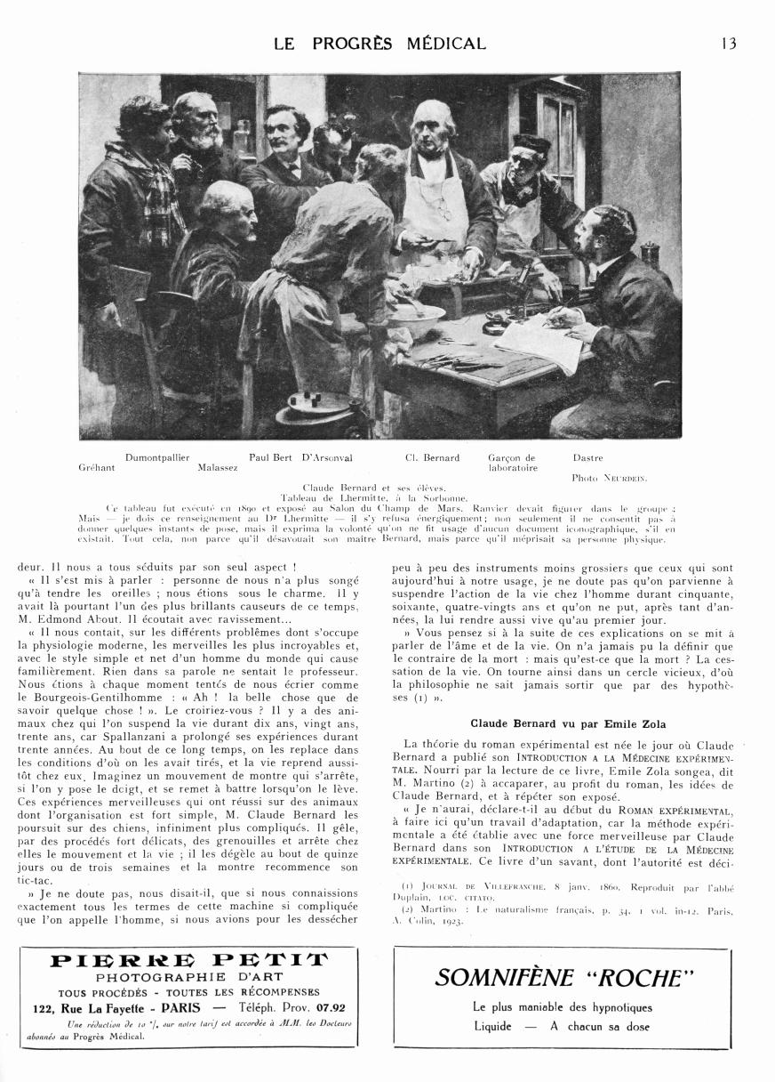 Claude Bernard et ses élèves - Le progrès médical -  - med90170x1928xsupx0013