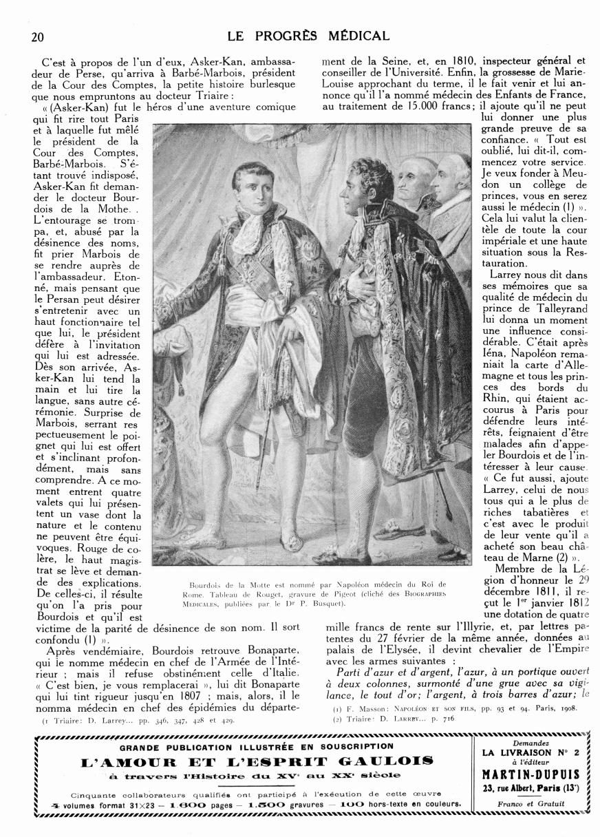 Bourdois de la Motte est nommé par Napoléon médecin du Roi de Rome - Le progrès médical -  - med90170x1928xsupx0020