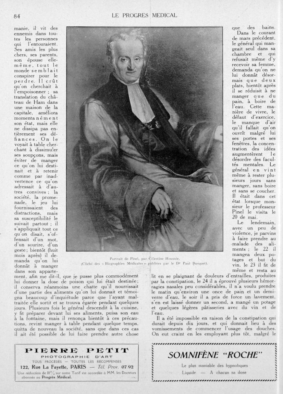 Portrait de Pinel, par Céléstine Heussée - Le progrès médical -  - med90170x1929xsupx0084