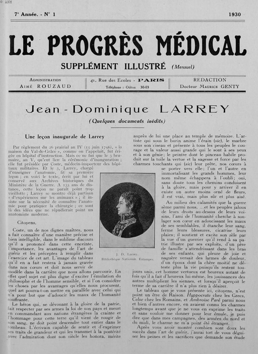J. D. Larrey. Bibliothèque nationale. Estampes - Le progrès médical -  - med90170x1930xsupx0001
